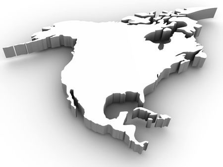 north america map: Southern America. 3d
