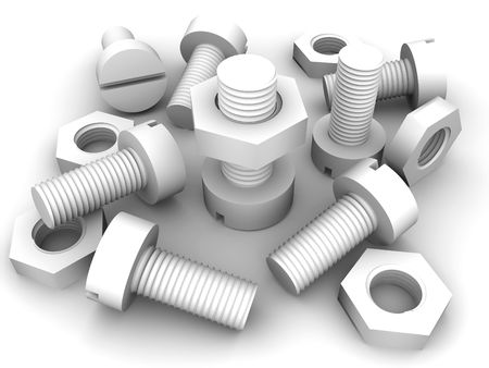 threaded: Bolts and nuts. 3d