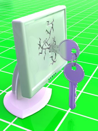 protecting: Monitors with keys. 3d