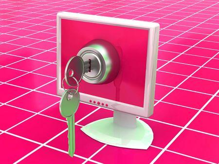 security gap: Monitors with keys. 3d
