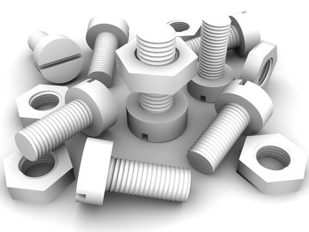 Bolts and nuts. 3d Stock Photo - 3653148