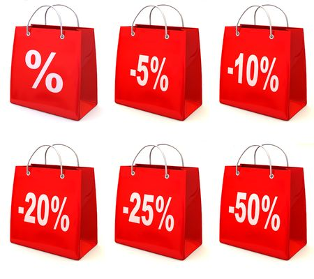 ten empty: Shopping bag with percent. 3d Stock Photo