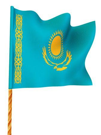 kazakhstan: Flag. Kazakhstan.  3d