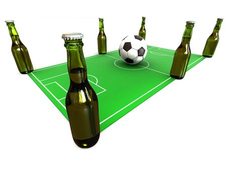 beerhouse: Bottles of beer on football field and ball. 3d