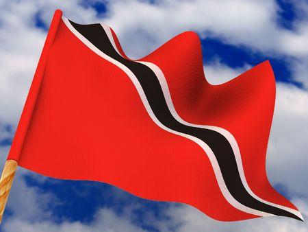 tobago: Flag. Trinidad and Tobago. 3d