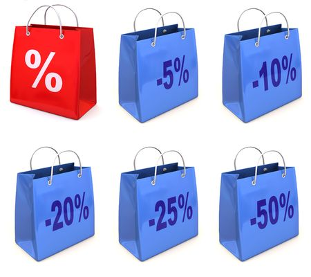 20 25: Shopping bag with percent. 3d Stock Photo