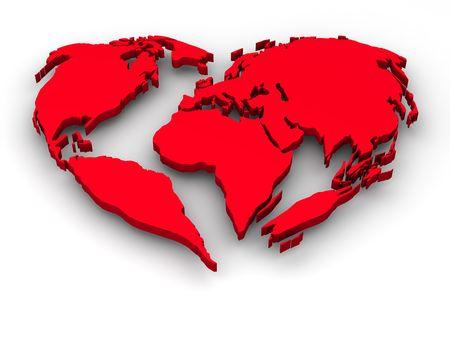 madre tierra: La Tierra en forma de coraz�n Foto de archivo