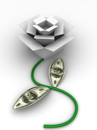 Abstract image. Boxes as rose with dollars. 3d photo