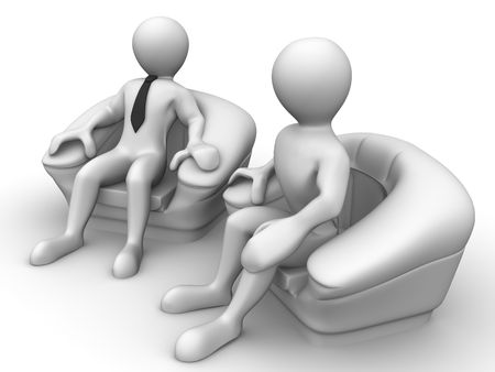 Two men is seated in a chair. Recruitment. 3d Stock Photo - 3939208