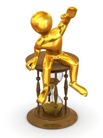 Man sitting on hourglass. 3d photo