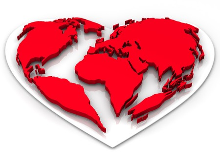Earth in the form of heart photo
