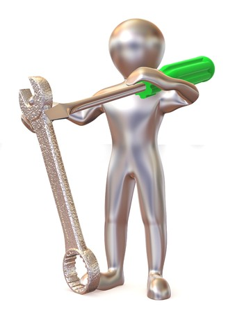 instruction: Man with tools. Maintenance. 3d