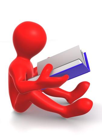 instrucciones: Hombre con libro. 3d Foto de archivo