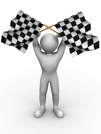 Men with checkered flags. 3d photo