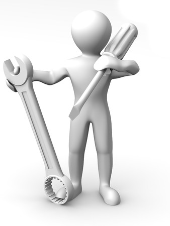Man with tools. Maintenance. 3d photo