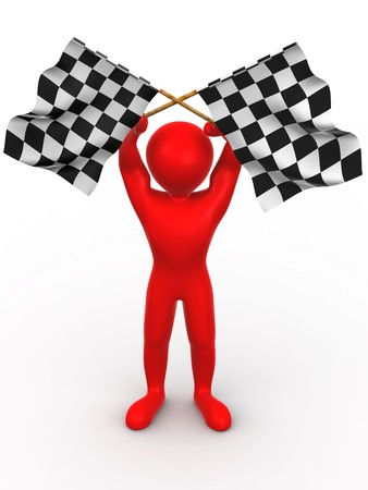 Men with checkered flags. 3d Stock Photo - 4041908