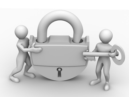 Two man with lock. 3d Stock Photo - 4052650