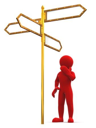 Man and blank arrows directions. 3d photo