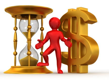 Man with hourglass and dollar. 3d photo