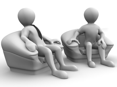 leather chair: Two men is seated in a chair. Recruitment. 3d