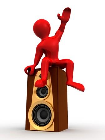 Man sitting on loudspeakers. 3d photo