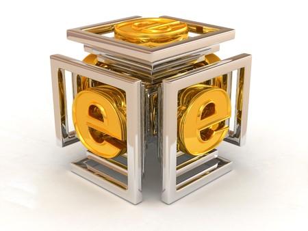 logo informatique: R�sum� de l'image. Infinity avec le symbole pour internet. 3d