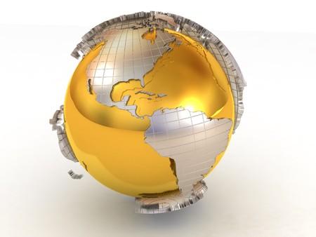 continente: Tierra. 3D  Foto de archivo