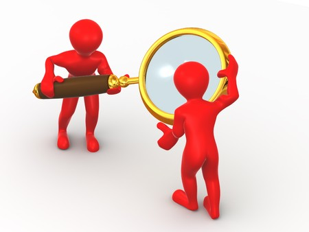 analyzing: Two man with loupe. Search. 3d