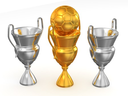 Three cup with ball. 3d photo