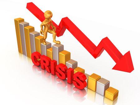 Man on diagram. Crisis. 3d photo