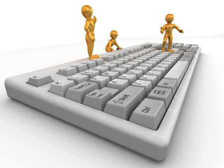 Three men on keyboard. 3d photo