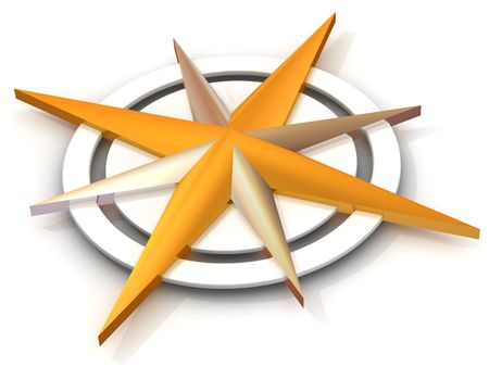 compass rose: Navigation. 3d Stock Photo