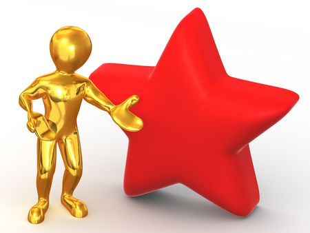 favourites: Man with star. Favourites. 3d Stock Photo