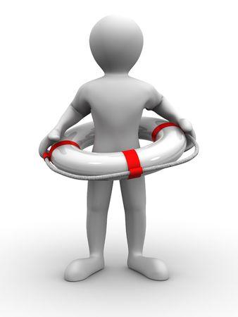 swimming belt: Men wtih lifepreserver. 3d
