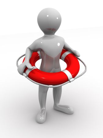 Men wtih lifepreserver. 3d photo
