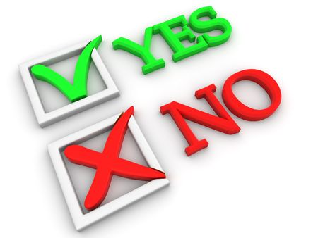 incorrect: Yes or No. Questionnaire. 3d Stock Photo