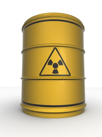 Barrel with sign Radiation. 3d photo