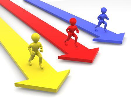 ascent: Men runningon arrows. 3d