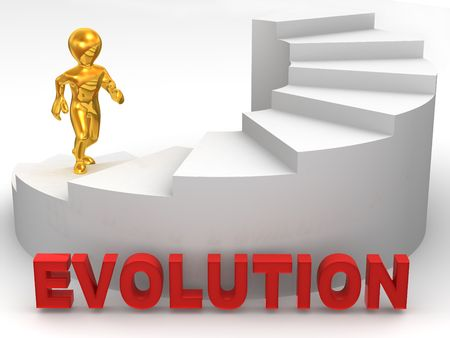 Men on stairs. 3d Evolution. 3d photo