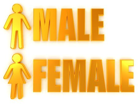 Male and female. Signs. 3d photo