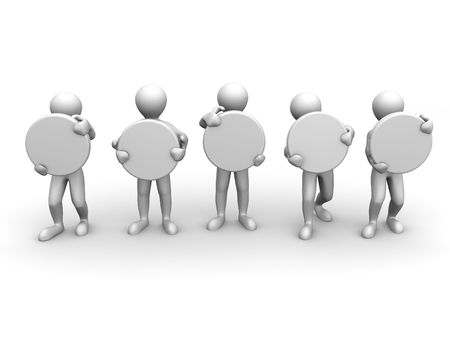 five men with space for text. 3d Stock Photo - 5147887