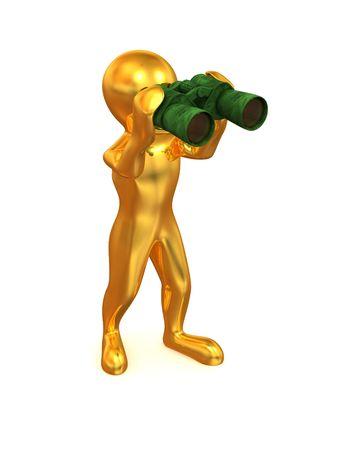 Men with binoculars. 3d photo