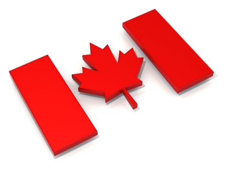 Canadian flag. 3d photo