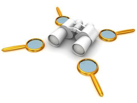 Binoculars with Magnifier. 3d Stock Photo