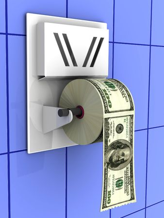 worthless: Dollar in the toilet paper. 3d