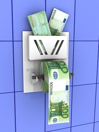 worthless: Euro in the toilet paper. 3d