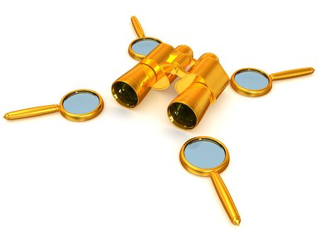 looking through an object: Binoculars with Magnifier. 3d Stock Photo