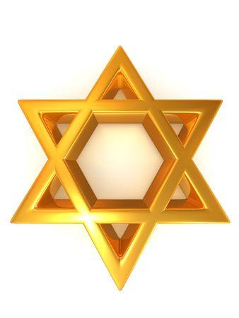 hexagram: Symbol of Israel. 3d