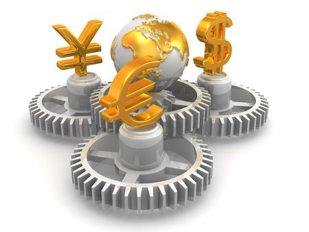money exchange: World currency. 3d