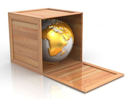 deliver: Earth in crate. 3d Stock Photo